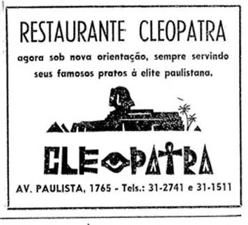 Anúncio do restaurante Cleópatra que foi publicado no Jornal Folha da Manhã, (atual Folha de São Paulo), em 19 de junho de 1959