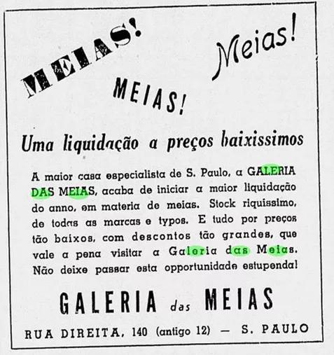Anúncio da Galeria das Meias, de propriedade do Sr. Taufic Bunducki, no jornal Correio Paulistano, em 1938