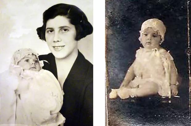 Nair com a filha Renata Eugenia ao colo e Yolanda Maria, à direita.